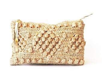 Straw beach bag, raffia woven clutch, crochet raffia purse, straw purse, natural raffia bag, beach wedding purse, straw clutch, boho clutch