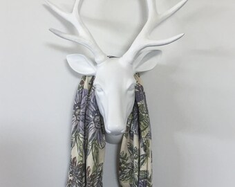 Infinity Scarf - Purple & Grey Butterfly Floral - Cotton Jersey Blend Knit