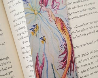 Pink Mermaid Bookmark, Fairytale Watercolor, Fantasy Bookmark, 2x6
