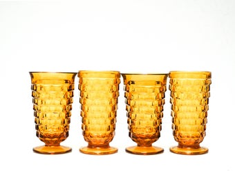 Vintage Amber Glass Goblets Set