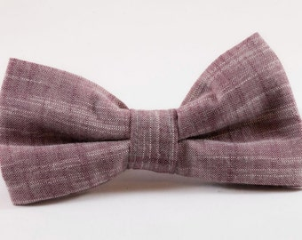 Plum Chambray Dog Bow Tie