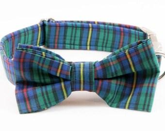 Tartan Plaid School Boy Bow Tie Dog Collar, Holiday Bowtie Dog Collar, Fall, Scottish, Flannel, Christmas