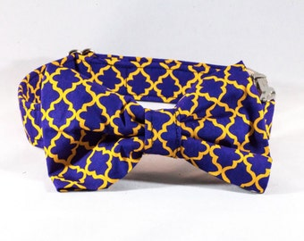 Preppy Purple and Gold Dog Bow Tie Collar, LSU Tigers