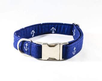 Navy Blue Anchor Dog Collar