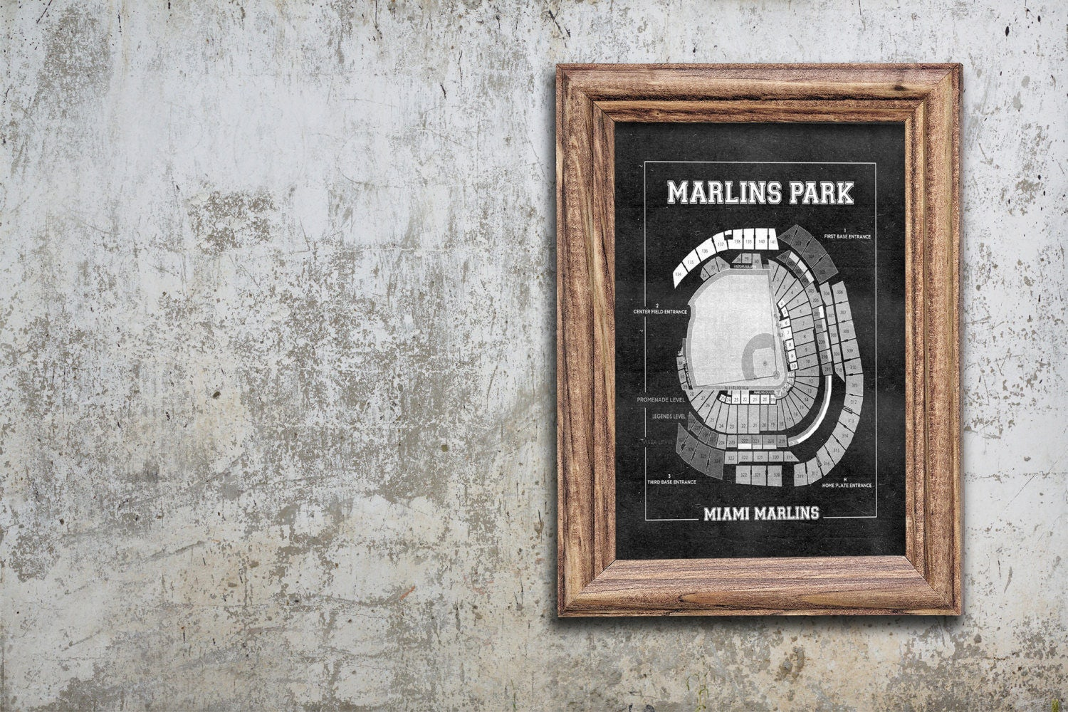 Vintage print of marlins park seating chart miami marlins baseball vintage print of marlins park seating chart miami marlins baseball blueprint on photo paper matte paper or stretched canvas malvernweather Gallery