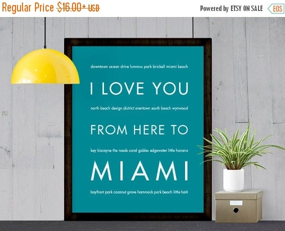 SALE Miami Art Travel Quote, I Love You From Here To MIAMI, Shown in Teal - Choose Color Canvas Frame Travel Poster, Free U.S. Shipping