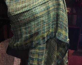 Nemesis Vintage green silk gossermer  Scarf Wrap