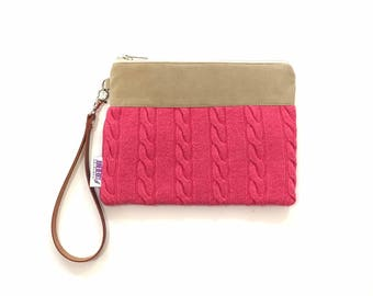 SALE - Cable Knit Sweater Wristlet in Pink