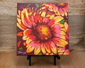 "FLOWER I | 8"" x 8"" | Original Painting by Carol Bold | 2016"