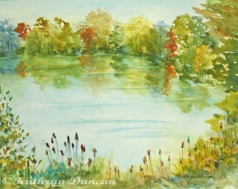 Huron River Landscape Original Watercolor Painting 9 x 12 matted to 12 x 16, Trees, Summer, water, river, green, blue, yellow, orange