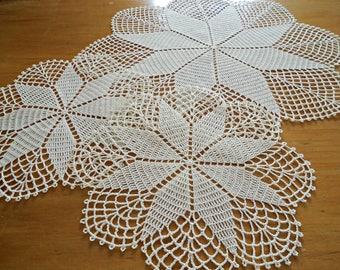 3 Crocheted Doilies Crocheted Doily Ecru Vintage Doilys Doilies  Lot  F18