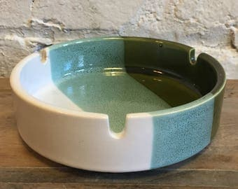 Vintage Ceramic Ashtray Made in Japan Blue Cream and Green at VintageHeist