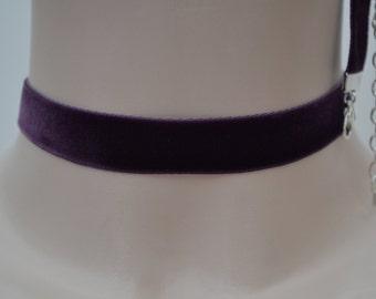 PLUM PURPLE Classic Plain Velvet 16mm Ribbon Choker Necklace - hs... or choose a different colour from 30 options and have it custom made :)