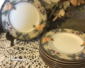 Vintage Mikasa Intaglio Set of Eight (8) Bread Plates Dessert Plates ~ Garden Harvest Pattern ~ Excellent Condition ~ Tuscan Inspired
