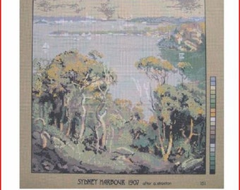 Needlepoint Canvas:Sydney Australia Harbor In 1907