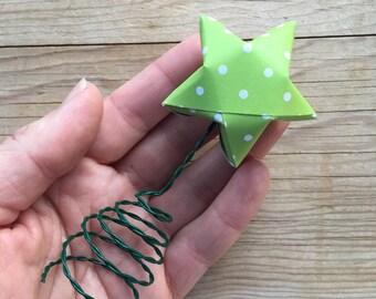 Tree Topper, Green Origami Star, Christmas Tree.