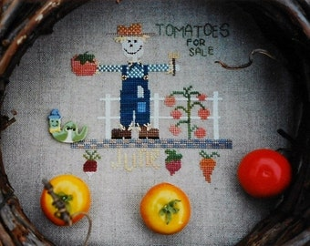 50%OFF Fanci That Primitive SCARECROW Of The Month JUNE Folk Art - Counted Cross Stitch Pattern Chart