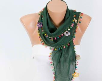 Gipsy scarf summer  handmade turkish oya scarf ,gipsy scarf ,boho scarf, in green