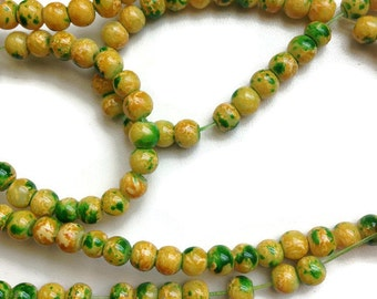 100 Mottled Glass Beads, Yellow Green Round Mottled Beads, Mottled Glass Beads 4mm G 50 043