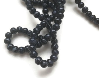 100 Black Mottled Beads, Spacer Beading, 4mm G 50 042