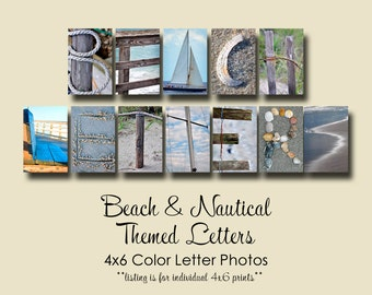 Beach Nautical Letter Photos Individual 4x6 Color Letters Alphabet Photography