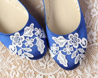 Wedding Flat Shoes Cobalt Blue Satin Bridal Ballet Flats with Lace Guipure Bride Engagement Special Night Size 10 (US)