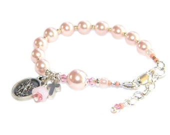 Catholic Baby Bracelet for Welcome Gift, Baby Shower, Baptism or Flowergirl - Pink Rosary Bracelet