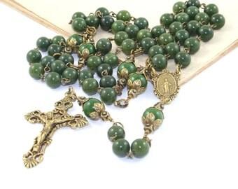Catholic Rosary Prayer Beads, Greenstone (Nephrite Jade), Traditional Rosary, Antique Brass Medal & Crucifix