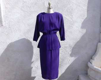 Vintage 80s Purple Peplum Rayon Dress