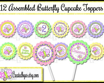 Butterfly Cupcake Toppers Spring Birthday Party Decorations cupcake picks Custom Summer cake toppers Butterfly cupcake tops 12 assembled