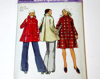 1970s Coat Pattern, Tent Coat, Simplicity 5984 Womans Coat Pattern