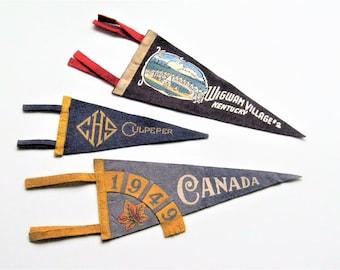 Vintage Felt Pennants: 3 Vintage Pennants, Travel Pennants, Souvenir Pennants, Canada, Kentucky, High School