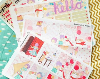 The Adventures of Clementine + Echo~ Hand Drawn Weekly Sticker Kit for Erin Condren Vertical Planners