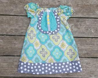 SALE - Aqua and Gray Bib Front Dress - Size 2T