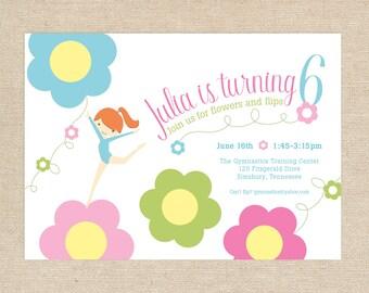 Printed Gymnastics Flower Invitations