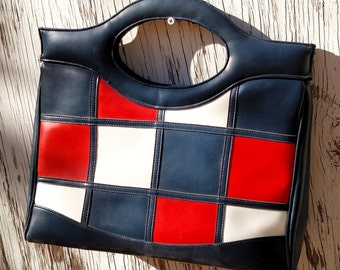 Vintage 1970's Vinyl Checkerboard Handbag in Navy, Red and White