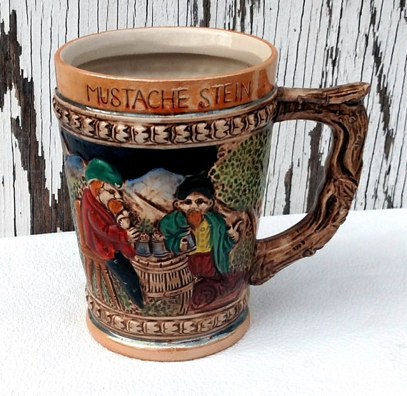 Vintage German Beer Stein with Built-in Mustache Guard