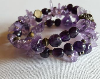 Amethyst Memory Wire Bracelet Three Strands