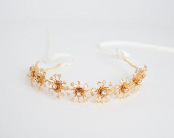 wedding crown   gold bridal Headpiece And Sash