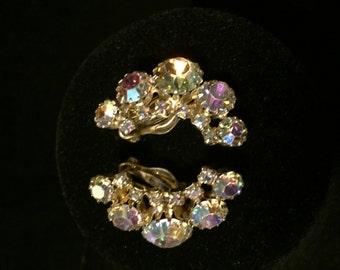 Vintage Iridescent Rhinestone Clip Earrings