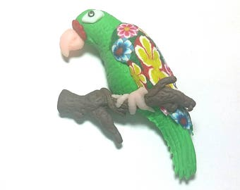 New Fimo Polymer Clay green parrot bird Figurine Refrigerator Magnet