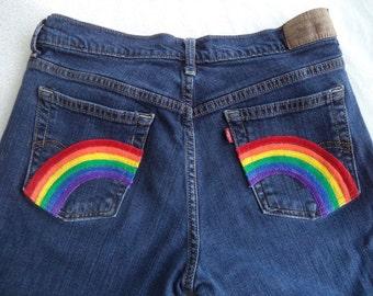 Rainbow pocket jeans by Boho Rain