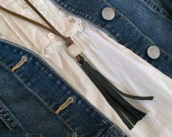 Leather Tassel Necklace // Black Off-White // Rosebud Originals