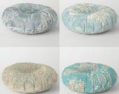 "Vintage Kilim Round Floor Pillow, 26"", 30"", Ottoman Cushion, Pouff, Dorm decor, Victorian, Antique Damask, stone blue, duck egg, teal, sand"