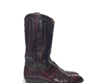 30% OFF 9.5 D | Men's Dan Post Western Boots Oxblood Leather w/ Decorative Piping