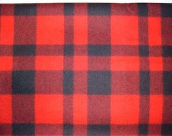 "Coat Weight Red & Black Plaid Pendleton Wool Fabric-Similar to Buffalo Plaid-63"" Long"
