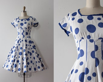 vintage 1950s Vicky Vaughn dress // 50s blue polka dot cotton dress
