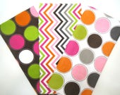 Clearance Bundle 3 Pack of Cotton Flannel Fat Quarters in Coordinating Multi Colored Chevron and Large Dot Prints