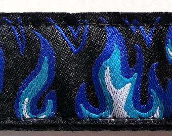 "Blue Hot Rod Flames Biker Cruiser 1"" Dog Collar (Large, Medium Plus, Medium)"