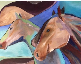 Abstract Horse painting contemporary art in turquoise, blue and brown western art, Modern western art